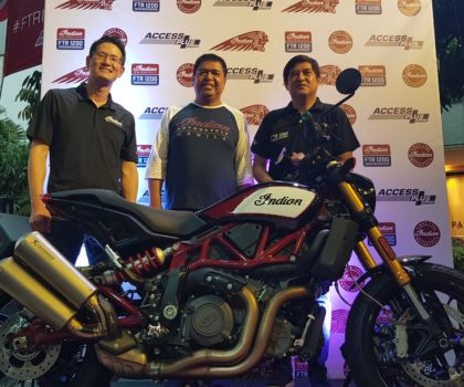 (L-R) International Sales Manager of Indian Motorcycle and Polaris Industries Asia Pacific- Mr. Jake Jung, Access Plus President Mr. Toti Alberto, Indian Motorcycles Philippines General Manager Mr. Ted Alberto